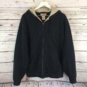 L. L. Bean navy blue zip up warm hoodie size LG